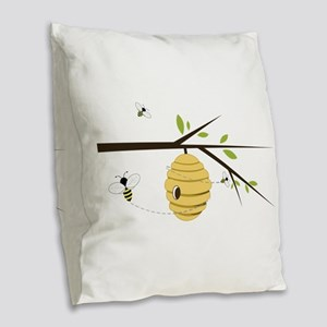 Beehive Burlap Throw Pillow