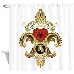 Monogram K Fleur-De-Lis Bf Shower Curtain