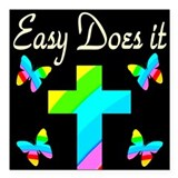 Let go and let god with butterflies Square Car Magnets