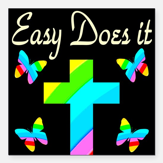 """EASY DOES IT Square Car Magnet 3"""" x 3"""""""