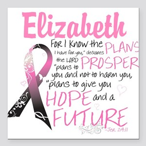 Breast Cancer Survivor Personalize Square Car Magn