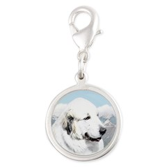 Great Pyrenees Silver Round Charm