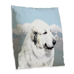 Great Pyrenees Burlap Throw Pillow