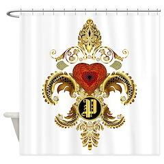 Monogram P Fleur-De-Lis Bf Shower Curtain