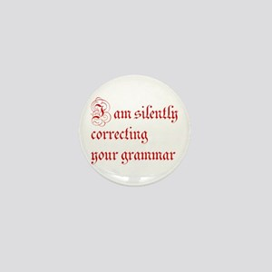 silently correcting grammar-par red Mini Button