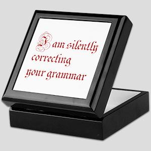 silently correcting grammar-par red Keepsake Box