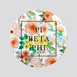 "Pi Beta Phi Floral 3.5"" Button"