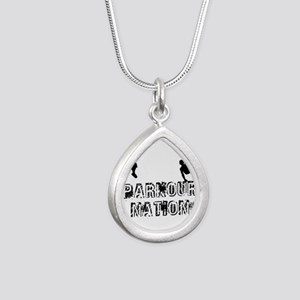 Parkour Nation Silver Teardrop Necklace