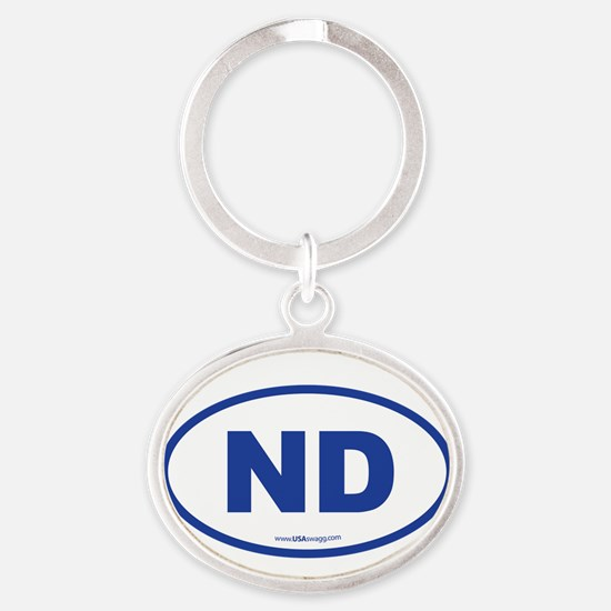 North Dakota ND Euro Oval Oval Keychain
