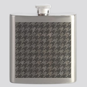 HOUNDSTOOTH1 BLACK MARBLE & GRAY STONE Flask