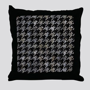 HOUNDSTOOTH1 BLACK MARBLE & GRAY STON Throw Pillow