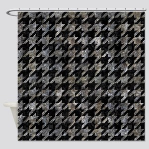 HOUNDSTOOTH1 BLACK MARBLE & GRAY ST Shower Curtain