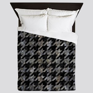 HOUNDSTOOTH1 BLACK MARBLE & GRAY STONE Queen Duvet