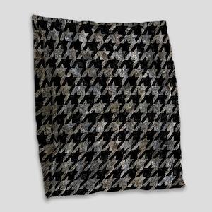 HOUNDSTOOTH1 BLACK MARBLE & GR Burlap Throw Pillow