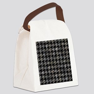 HOUNDSTOOTH1 BLACK MARBLE & GRAY Canvas Lunch Bag