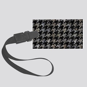 HOUNDSTOOTH1 BLACK MARBLE & GRAY Large Luggage Tag