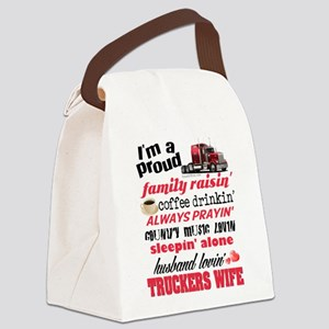 Husband Lovin' Truckers Wife Canvas Lunch Bag