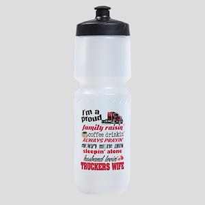 Husband Lovin' Truckers Wife Sports Bottle