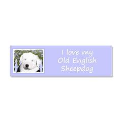 Old English Sheepdog Car Magnet 10 x 3