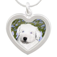Old English Sheepdog Silver Heart Necklace