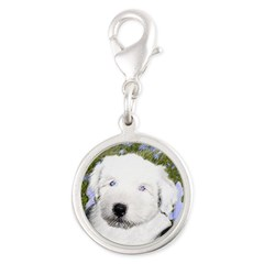 Old English Sheepdog Silver Round Charm