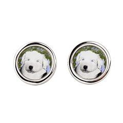 Old English Sheepdog Round Cufflinks