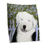 Old English Sheepdog Burlap Throw Pillow