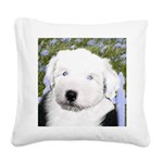 Old English Sheepdog Square Canvas Pillow