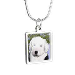 Old English Sheepdog Silver Square Necklace