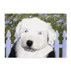 Old English Sheepdog 5'x7'Area Rug