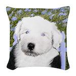 Old English Sheepdog Woven Throw Pillow