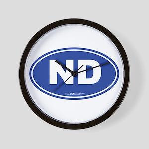 North Dakota ND Euro Oval Wall Clock