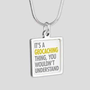 Its A Geocaching Thing Silver Square Necklace
