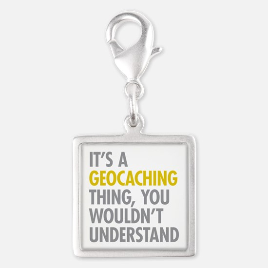 Its A Geocaching Thing Silver Square Charm