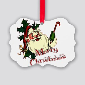 Merry Christmas Vintage Santa Picture Ornament
