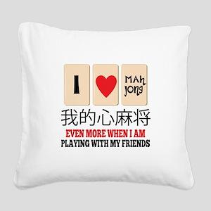Mah Jong & Friends Square Canvas Pillow
