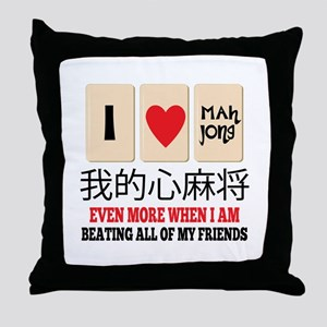 Mah Jong & Beating Throw Pillow