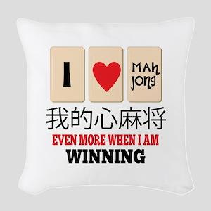 Mah Jong & WInning Woven Throw Pillow