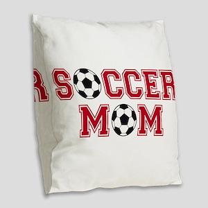 Soccer mom Burlap Throw Pillow