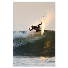 California, San Clemente, Surfer Carving Wave, Eve Poster