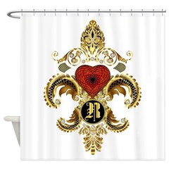 Monogram R Fleur-De-Lis Bf Shower Curtain