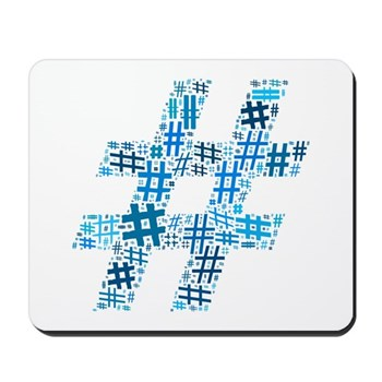 Blue Hashtag Cloud Mousepad