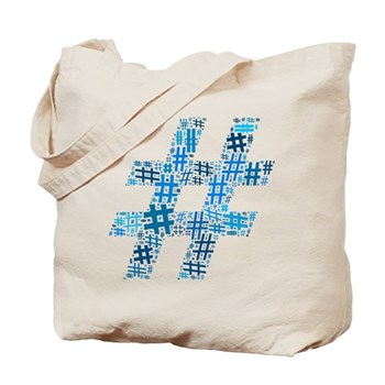 Blue Hashtag Cloud Tote Bag