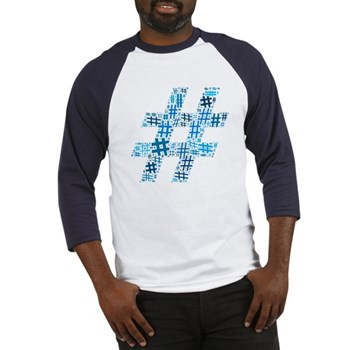 Blue Hashtag Cloud Baseball Jersey