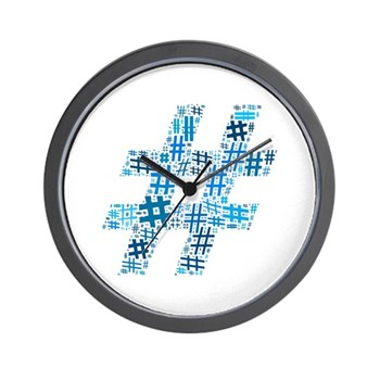 Blue Hashtag Cloud Wall Clock