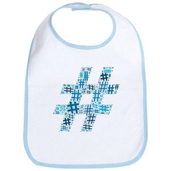 Blue Hashtag Cloud Bib