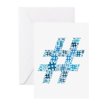 Blue Hashtag Cloud Greeting Cards (10 pack)