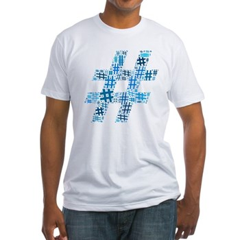 Blue Hashtag Cloud Fitted T-Shirt
