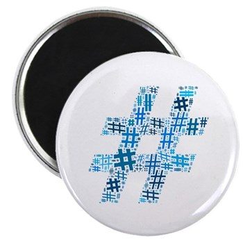 Blue Hashtag Cloud Magnet