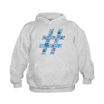 Blue Hashtag Cloud Kid's Hoodie